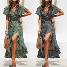 OLOME Summer Beach Maxi Dress Women Floral Print Boho Long Chiffon Dress Ruffles Wrap Casual V-Neck Split Sexy Party Dress Fall