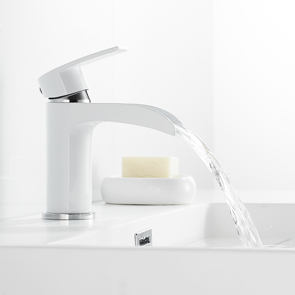 Waterfall Basin Faucet Sink Tap Bathroom Brass Hot Cold Mixer Water Single Holder Hole Torneira Kitchen Contemporary-in Basin Faucets from Home Improvement    2