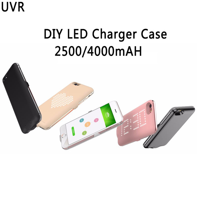 Uvr 2500 4000mah charger case for iphone 8 8plus portable power bank charger diy led show