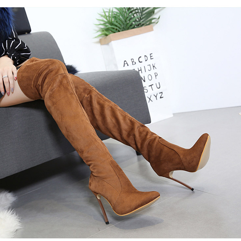 Thigh Long Boots 12 High Heels Sexy Women Shoes Fashion Over Knee Boots Flock Shoes Black Coffee Beige Winter Boots Big Size 42 th döhler 2 fantaisies sur des motifs favoris de l opera l elisir d amore op 14
