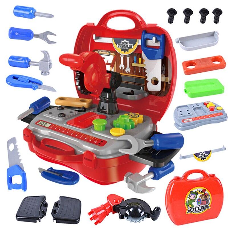 19 Stks/set Simulatie Ingenieur Builde Rollenspel Ouder-kind Interactie Speelgoed Gereedschapskist Schroef Hamer Reparatie Tool Kids Jongens Gift