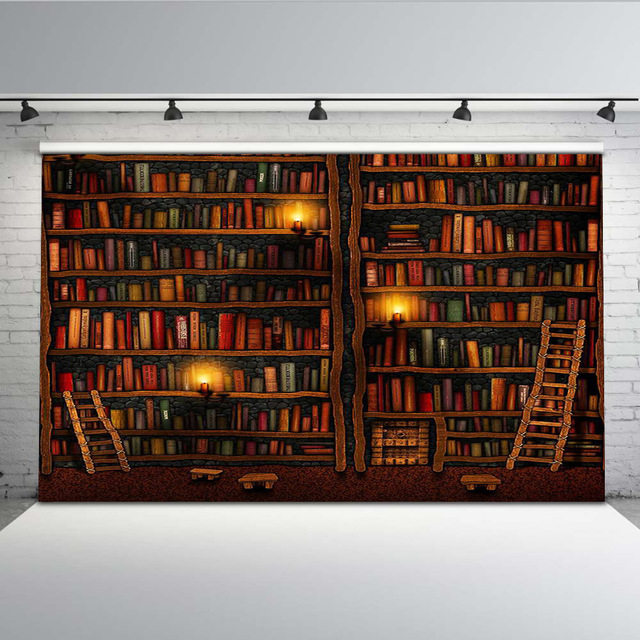 Vinyl graduation background Library books student Backdrop for Book