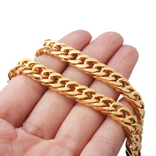 7-32inch Custom Size 6/8/10mm Wide 316L Stainless Women Mens Gold Curb Cuban Chain Necklace/Bracelet Link Jewelry