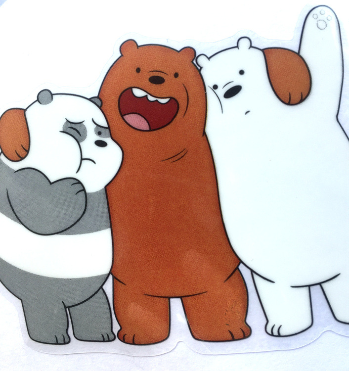 10 sets We Bare Bears sticker anime figure Grizzly Panda Ice Bear decoration glass sticker 9 pcs in one set free shipping