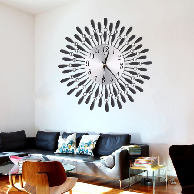 Newly 3D Large Wall Clock Crystal Sun Modern Style Silent Clocks for Living Room Office Home Decoration