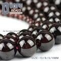 Granate Natural cuentas de piedra de Alta calidad vino Tinto granos Flojos de la bola Redonda 4/6/8/10 MM pulsera de perlas de cristal para la joyería que hace DIY