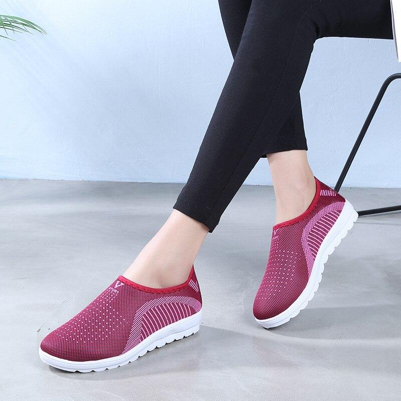 2019 zapatos De Mujer mocasines planos De malla De algodón De talla grande para Mujer zapatos casuales para caminar zapatillas De Mujer para Mujer