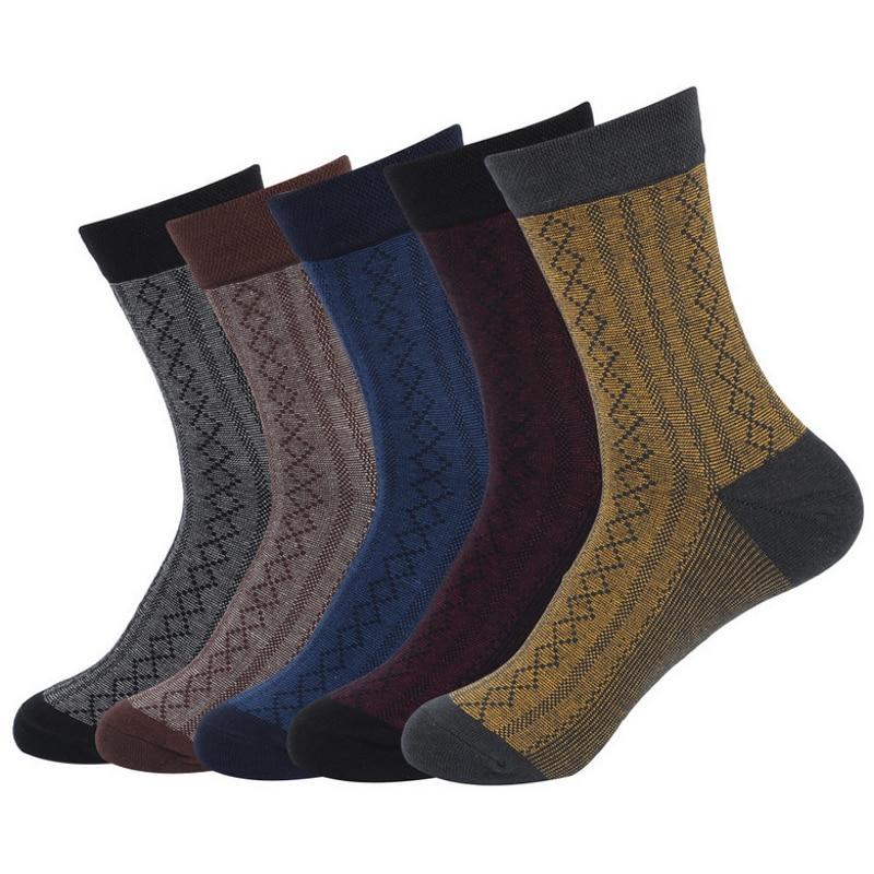 EUR40-45 Men 2017 Winter Classic diamond lattice pattern business cotton socks male fashion long socks 5pairs/lot