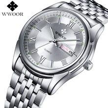 WWOOR Brand Luxury Mens Watches Quartz Luminous Clock Male S