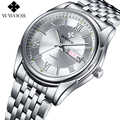 WWOOR ブランドの高級発光時計男性ステンレス鋼ビジネス腕時計メンズスポーツ腕時計レロジオ masculino