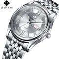 Wwoor marca de luxo dos homens relógios quartzo relógio luminoso masculino aço inoxidável relógio de negócios masculino relógio de pulso do esporte relogio masculino
