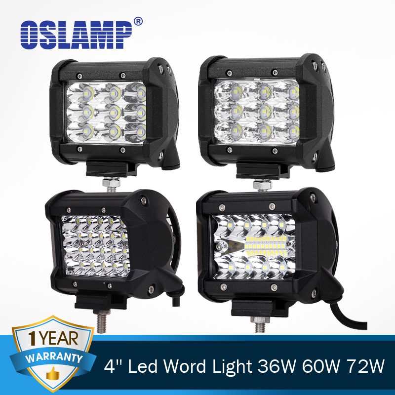 Oslamp 18w 4 Reflection Cup Led Work Light Spot/flood Offroad Driving Light 6000k Lamps Car Boat 12v 24v Atv Suv Truck Car Lights Automobiles & Motorcycles