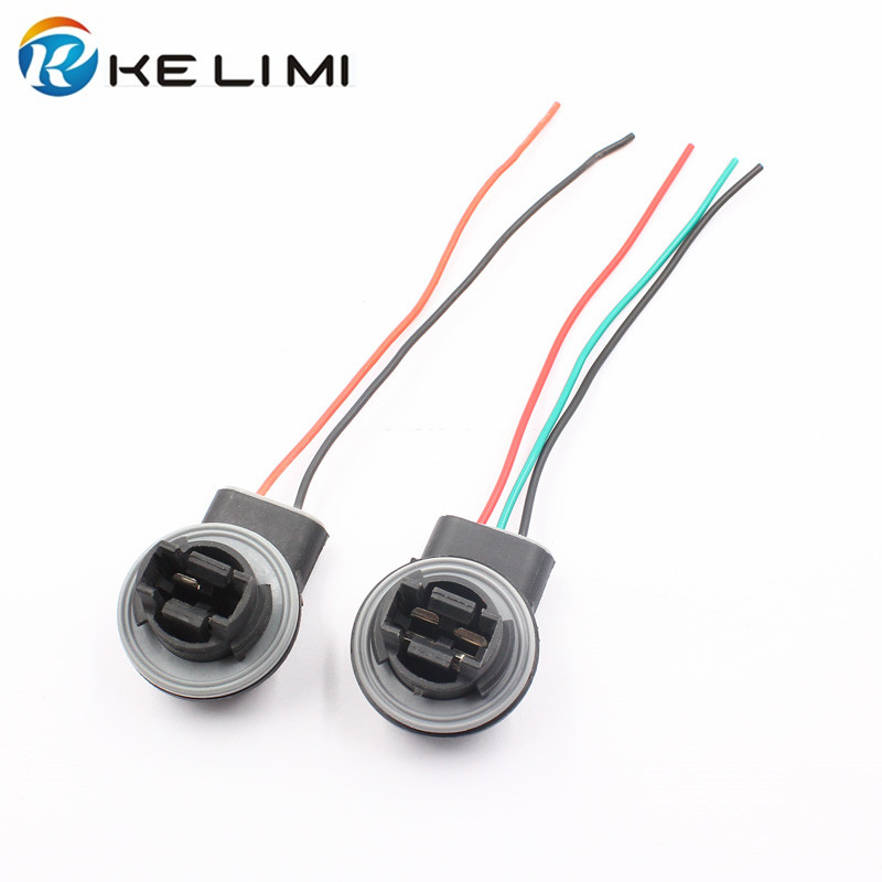 2Pcs 3157 LED Bulb Brake Turn Signal Light Lamp Socket Adapter Harness Wires Plug Connector Pigtail Bulb Socket