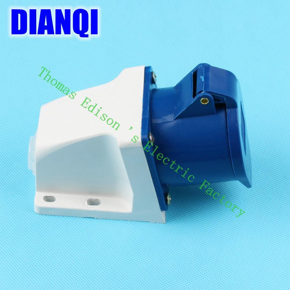 Industrial Socket Plug Coupler 123 CNQD-123 Blue 32A 220V~415V 2P+E 3pin 60PCS/carton iec309 2 panel mount 2p e ip44 blue white industrial socket ac 220v 250v 32a