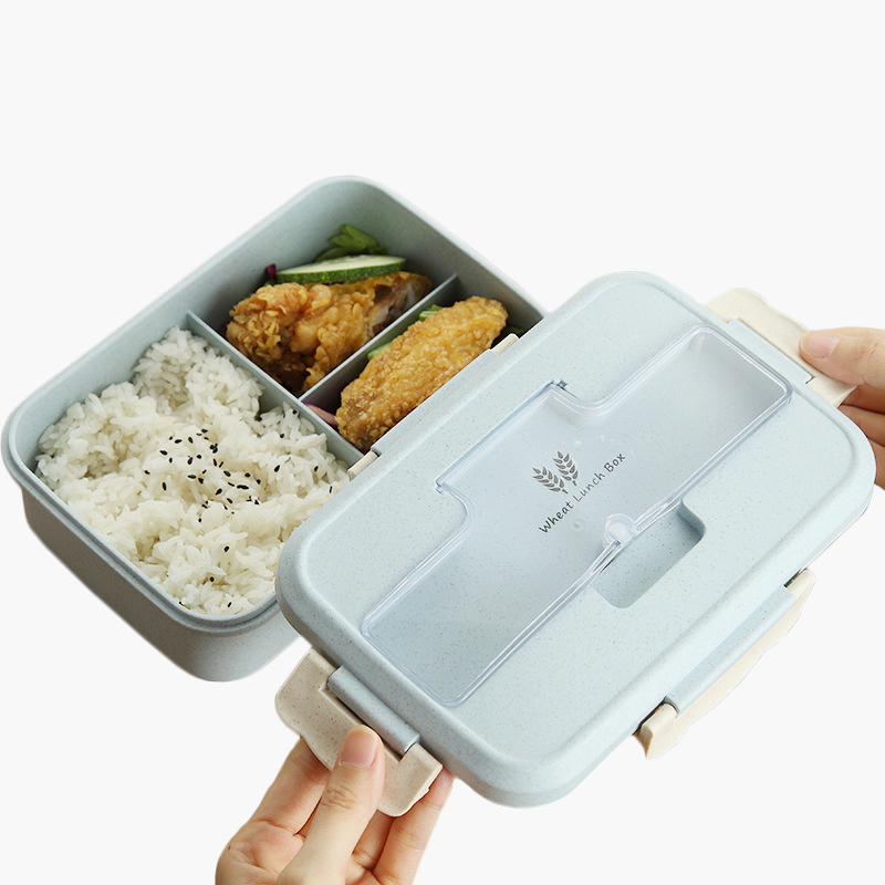 Students Portable Lunch Box Food Storage Box Spillproof Wheat Straw Bento Box