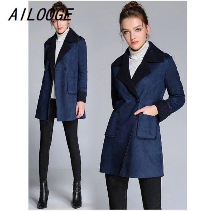 Ailooge 5xl Blu Nuovo Ufficio Faux 1 Elegante Pelle Di Sportiva Delle Lungo  Formato Giacca Inverno Il Donne Scamosciata Del Sottile 2018 ... 1c674fd5b7a0
