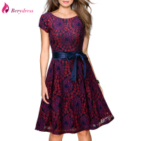 Berydress Elegant Womens Cocktail Evening Short Sleeve Sexy V Back Knee Length Belted A Line Vintage