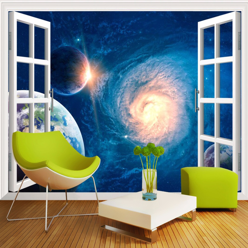Custom Mural Wall Paper 3D Stereo Window Landscape Wall Painting Galaxy Star Background 3D Photo Wallpaper Modern Living Room