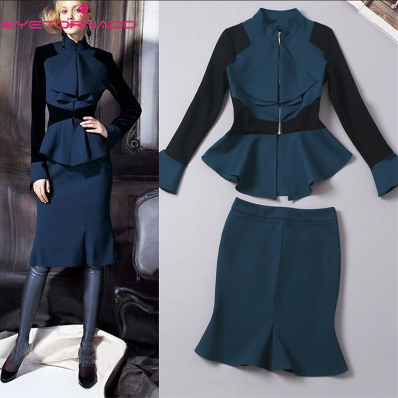 Women bow ruffled color block flare sleeve top + sexy bodycon mermaid skirt suit casual formal office business two pieces set