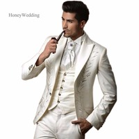 2018 White Ivory Groom Tuxedos Groomsman Dress Men's Wedding Prom Suits With Embroidery (Jacket+Pants+Vest) Free Shippiing