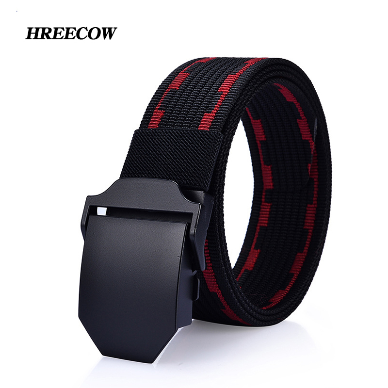 New Style Automatic Buckle Men's Canvas Belt Metal Buckle Tactics Woven Belts Casual Pants Belts Breathable For Jeans