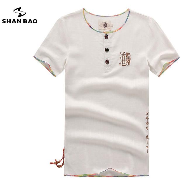 Curto da luva dos homens camisas de alta qualidade com linho respirável 2017 verão must-have homem dos homens do bordado camisas casuais