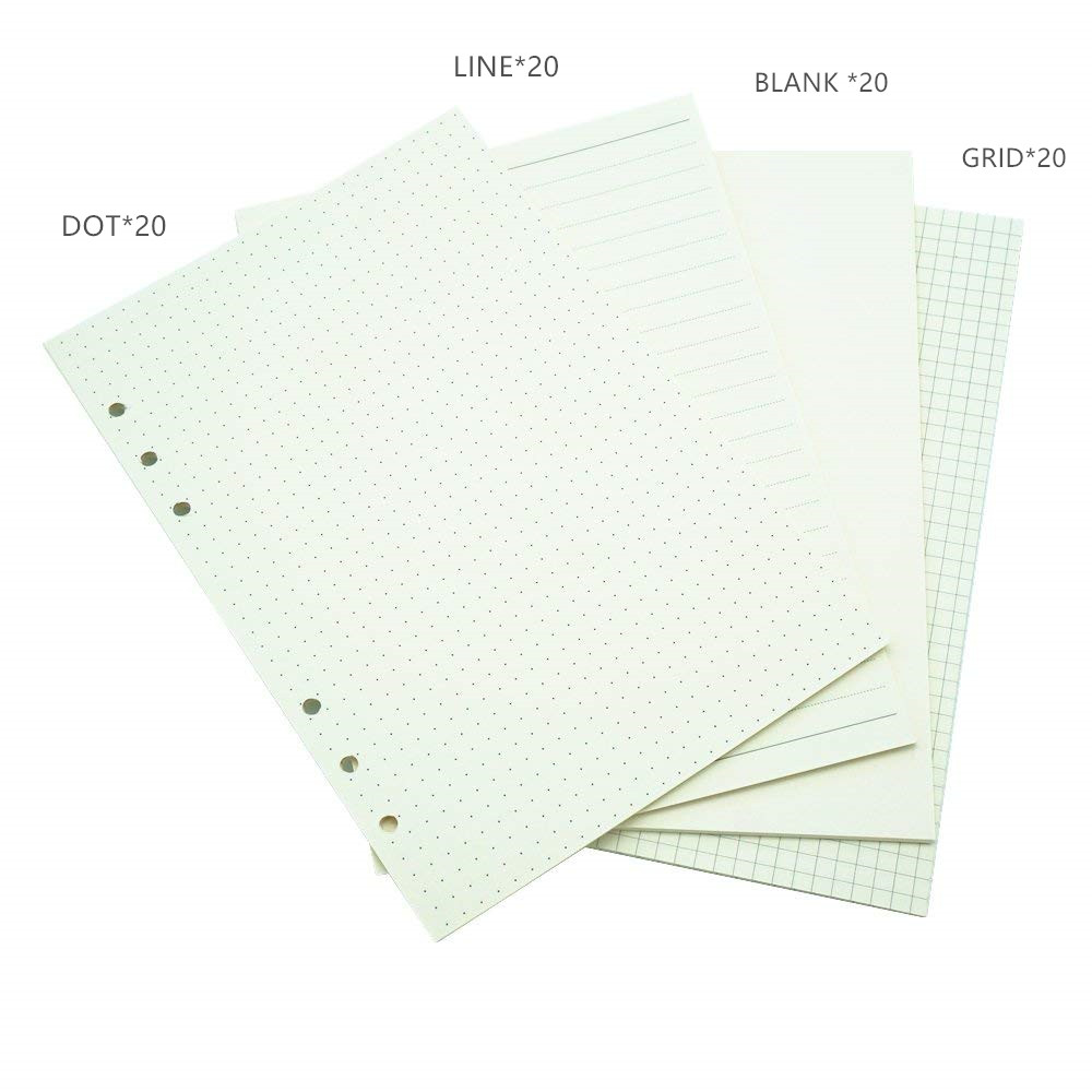 Notebook A6 A5 Refill 80 Sheets  Inner Paper Pages Normal Paper Line Grid Blank Dot Included