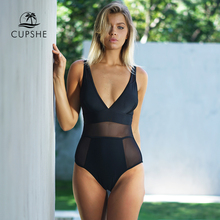 CUPSHE Sexy Black Mesh One piece Swimsuit Women Solid V neck Hollow Out Monokini 2020 Girl Slim Bathing Suit Swimwear