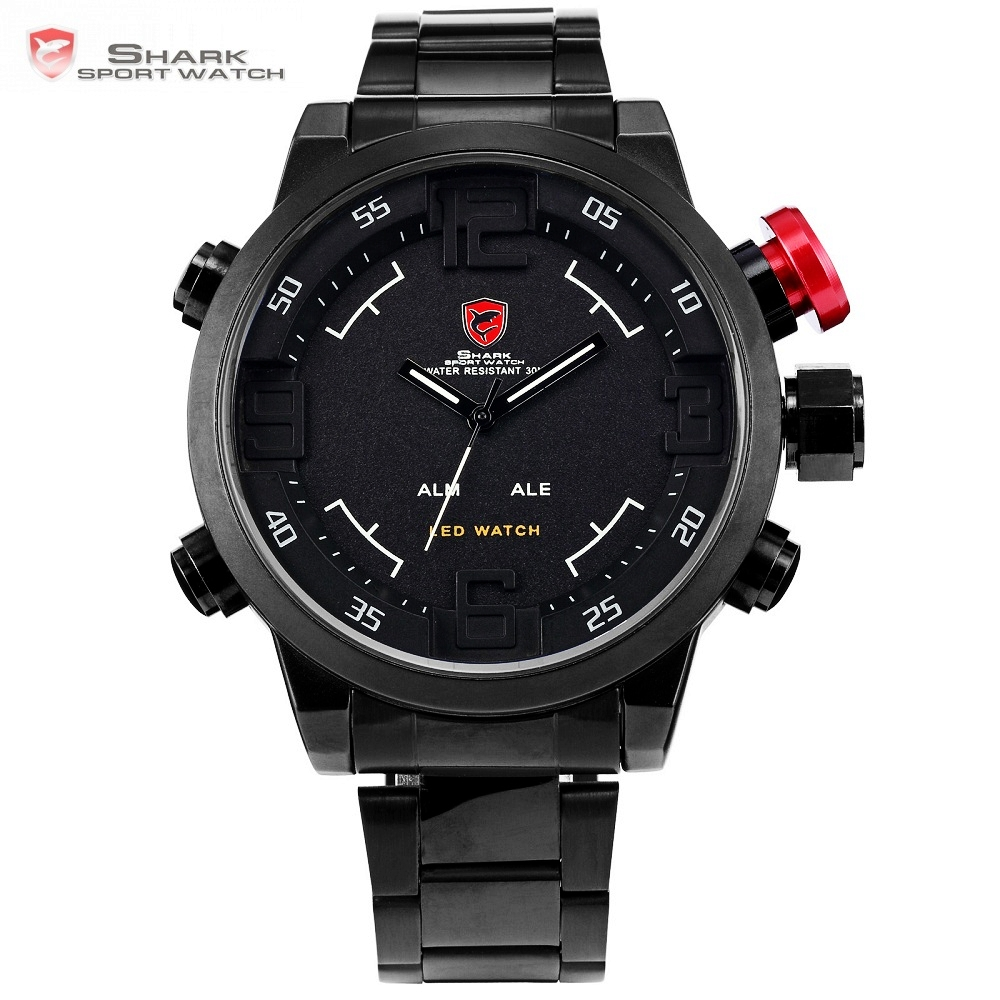 Gulper SHARK Sport Watch Cool Black Full Stainless Steel LED Digital Date Men Quartz Watches Military