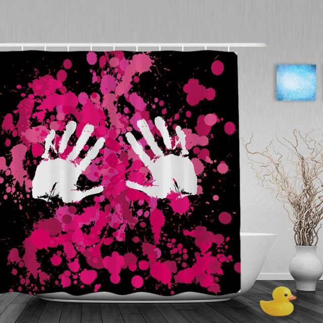 White Hand Palms Print On Red Drops Bathroom Curtain Pink Black Shower Curtains For Couple Waterproof