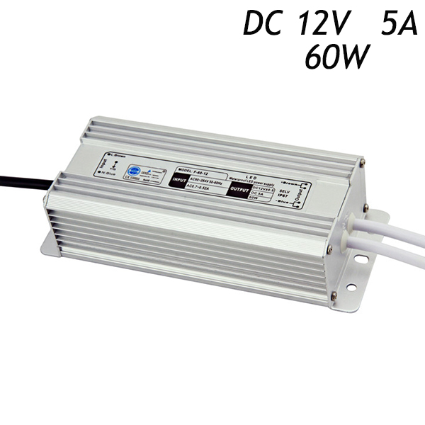 14Pcs/lot 12V 5A 60W IP67 Waterproof LED Power Supply Driver for LED Strip AC 110 220V To DC Transformers Aluminum DHL