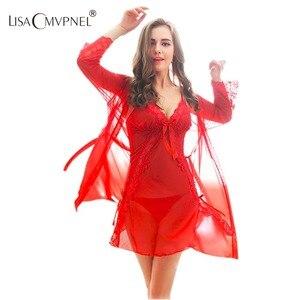 Image 1 - Lisacmvpnel Nieuwe Collectie Lingerie Sexy Gewaad En Toga Set Femme Nachtkleding Robe En Gown Avondjurk Robe