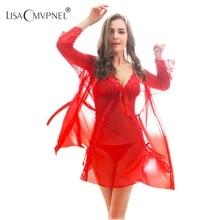 Lisacmvpnel nova chegada lingerie sexy robe e vestido conjunto femme sleepwear robe e vestido de noite robe