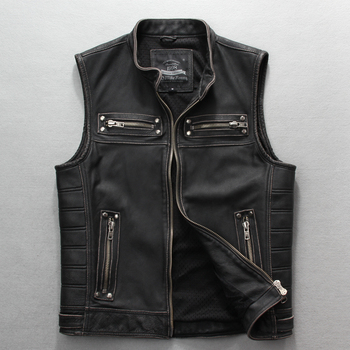 2019 Vintage Black Slim Fit Biker's Leather Vest Plus Size 4XL Genuine Thick Cowhide Short Russian Motorcycle Vest FREE SHIPPING