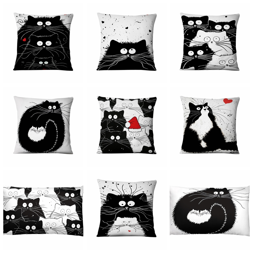 Black And White Cat Thin Lien Cushion Decorative Pillow Christmas Cartoon Meow Home Pillow Decoration Sofa Throw Pillows 45*45