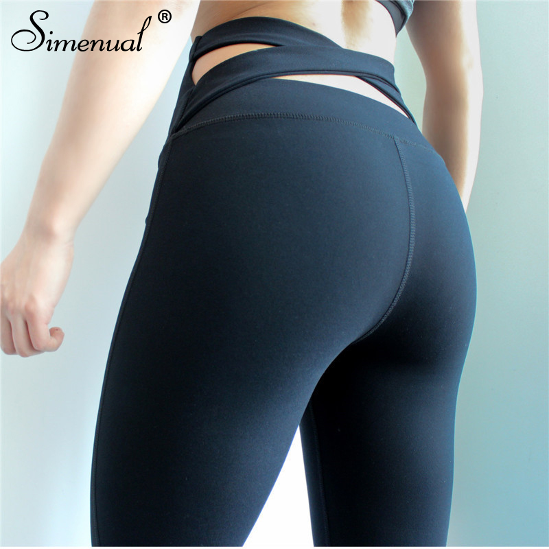 Simenual Crisscross push up   leggings   for women polyamide black fitness   legging   sportswear breathable bodybuilding jeggings pants