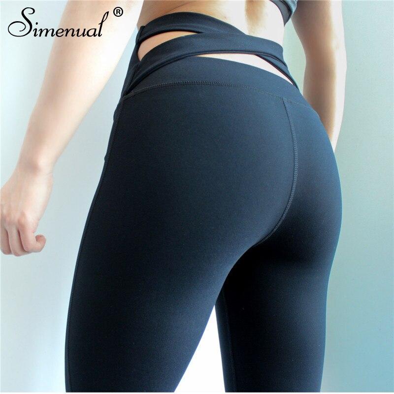 Simenual Croisillon push up leggings pour femmes polyamide noir fitness legging sport respirant musculation jeggings pantalon