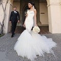 Sexy Docinho Cabido Magro Sereia Longo Do Vestido de Casamento 2016 vestido de Noiva