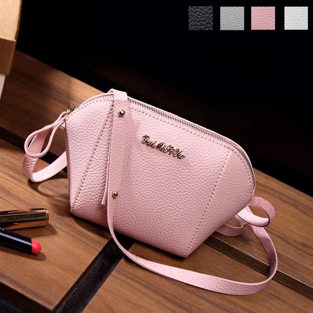 Fashion Korean Women Mini Shoulder Bag Leather Solid Color Zipped Messenger Crossbody Bags Las Purse Handbag