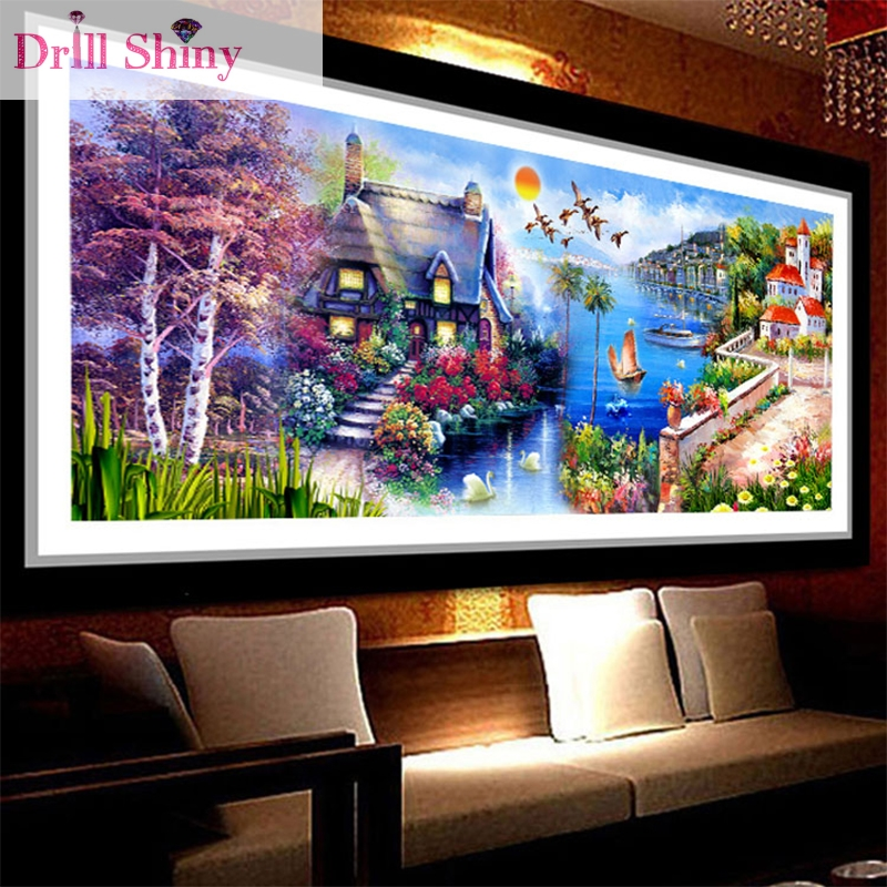 New 5d diamond oil painting Beautiful Dream Castle House full round rhinestone cross stitch for home decration embroidery kits