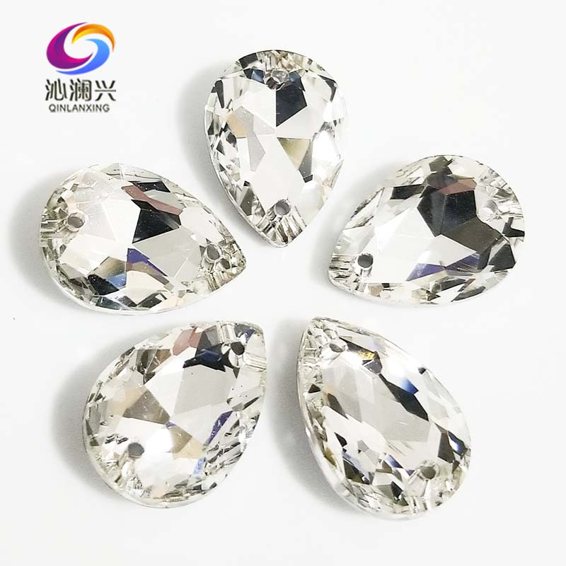 Clear white DR shape High quality Glass Crystal pointback sew on rhinestones with two holes,Diy/Clothing accessories SWSK01