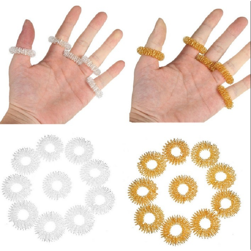 5pcs/Lot Finger Massage Rings Acupuncture Ring Health Care Gold Silver #88114 5pcs acupuncture rings health care body massager finger massage ring