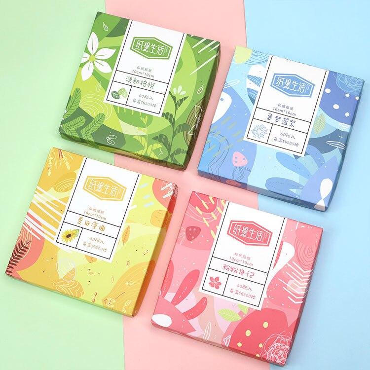 60 Sheets In Box Creative Journal Scrapbook DIY Sketchbook Decorative Sticker Washi Paper Sticker
