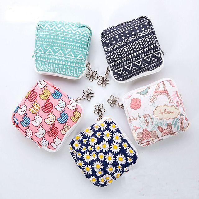 1PC Women Portable Cotton Sanitary Napkin Storage Bags Cute Mini Cotton  Organizer Pouch Case Girls Makeup 5e0632a26436