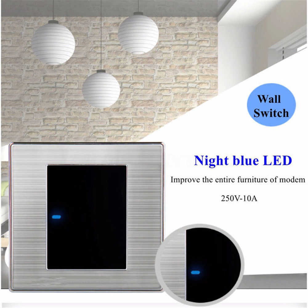 LED Wall Light Switch | Brushed Stainless Steel  1