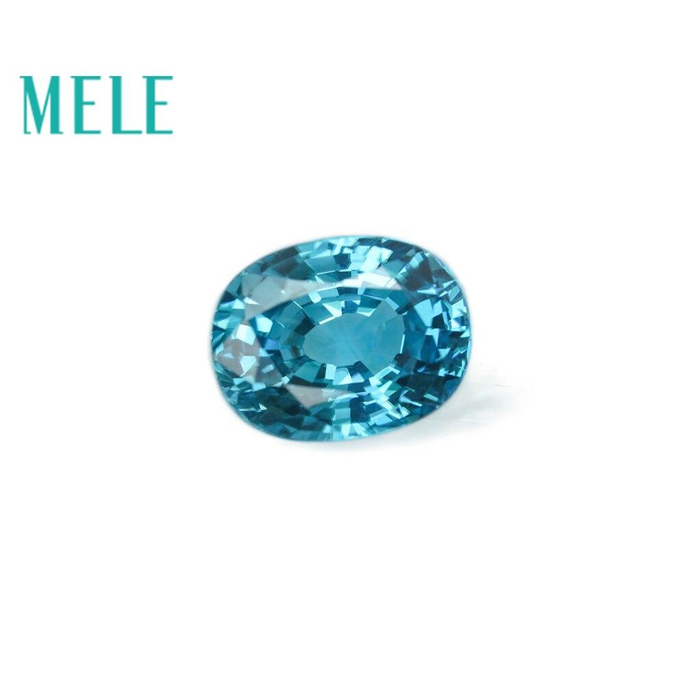 Zircon bleu naturel MELE 7.6ct pour bague, grande jacinthe saphir ovale 12x9mm avec feu coloré, pierres précieuses en vrac de qualité supérieure
