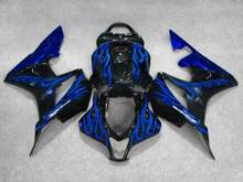 Blue flames black Fairing kit for CBR600RR F5 07 08 CBR 600RR 2007 2008 CBR600 Motorcycle Fairings set+gifts set HC25