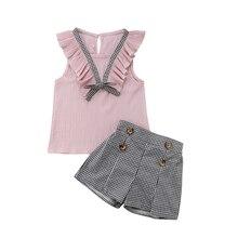 2PCS Kids Baby Girls Outfits Summer Petal Sleeve Sleeveless V-Neck Pink T-shirt Tops+Black And White Plaid Shorts Clothes Set цена 2017