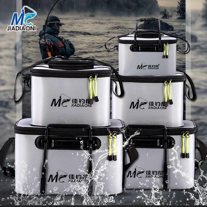 JIADIAONI, caja plegable de peces vivos, tanque de cubo de agua de plástico para caña de carpa, pez, con asas, bolsas, accesorios para aparejos de pesca