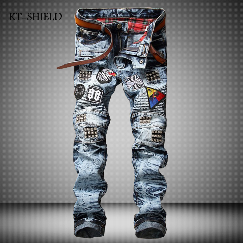 Men clothing Badge Patchwork Jeans Men Brand Scratched Biker Hole Denim Straight Casual full length Pants Masculina Pantalones personality patchwork jeans men ripped jeans fashion brand scratched biker jeans hole denim straight slim fit casual pants mb541